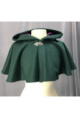 Cloak and Dagger Creations 4223 - Forest Green Wool Capelet, Rich Purple Silk Velvet Hood Lining, Pewter Vale Clasp
