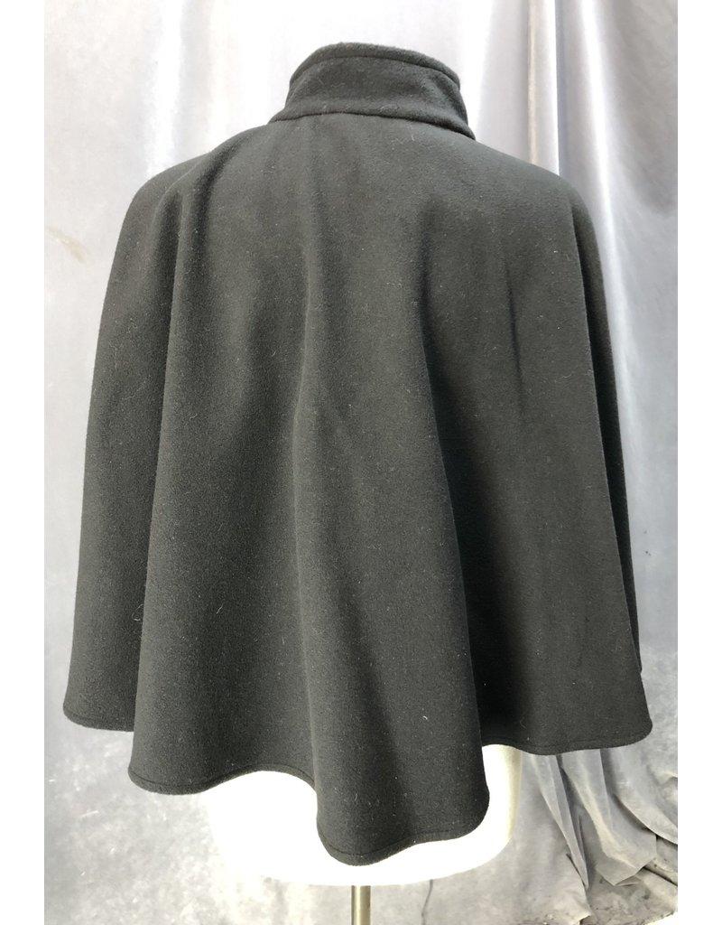 Cloak and Dagger Creations 4216 - Black Hoodless Cloak w/Pockets, Hidden Snap Closure