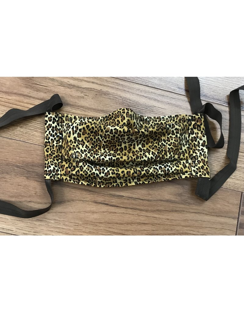 Cloak and Dagger Creations 3 Layer Pleated Face Mask - Cheetah Print - Cotton & Silk w/Elastic Ties