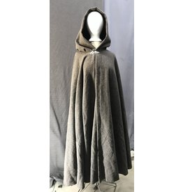 Cloak and Dagger Creations 4421 - Washable Multi-tone Brown Wool Boucle Full Circle Cloak, Burgandy Red Hood Lining, Pewter Clasp