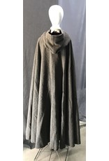"""Cloak and Dagger Creations 4421 - Washable """"Brown"""" Wool Boucle Full Circle Cloak, Burgandy Red Hood Lining, Pewter Clasp"""
