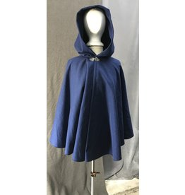 Cloak and Dagger Creations 4422 - Washable Blue Calvary Twill 100% Wool  Youth Cloak, Unlined Hood, Pewter Clasp