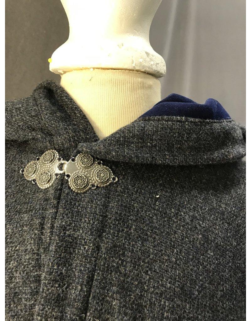 Cloak and Dagger Creations 4423 - Washable Denim Blue Wool Cloak , Blue Moleskin Hood Lining, Pewter Clasp