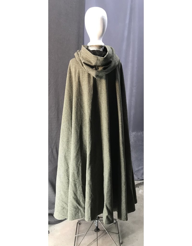 Cloak and Dagger Creations 4424 - Washable Brown Wool Houndstooth Full Circle Cloak, Brown Moleskin Hood Lining, Golden Vale Clasp
