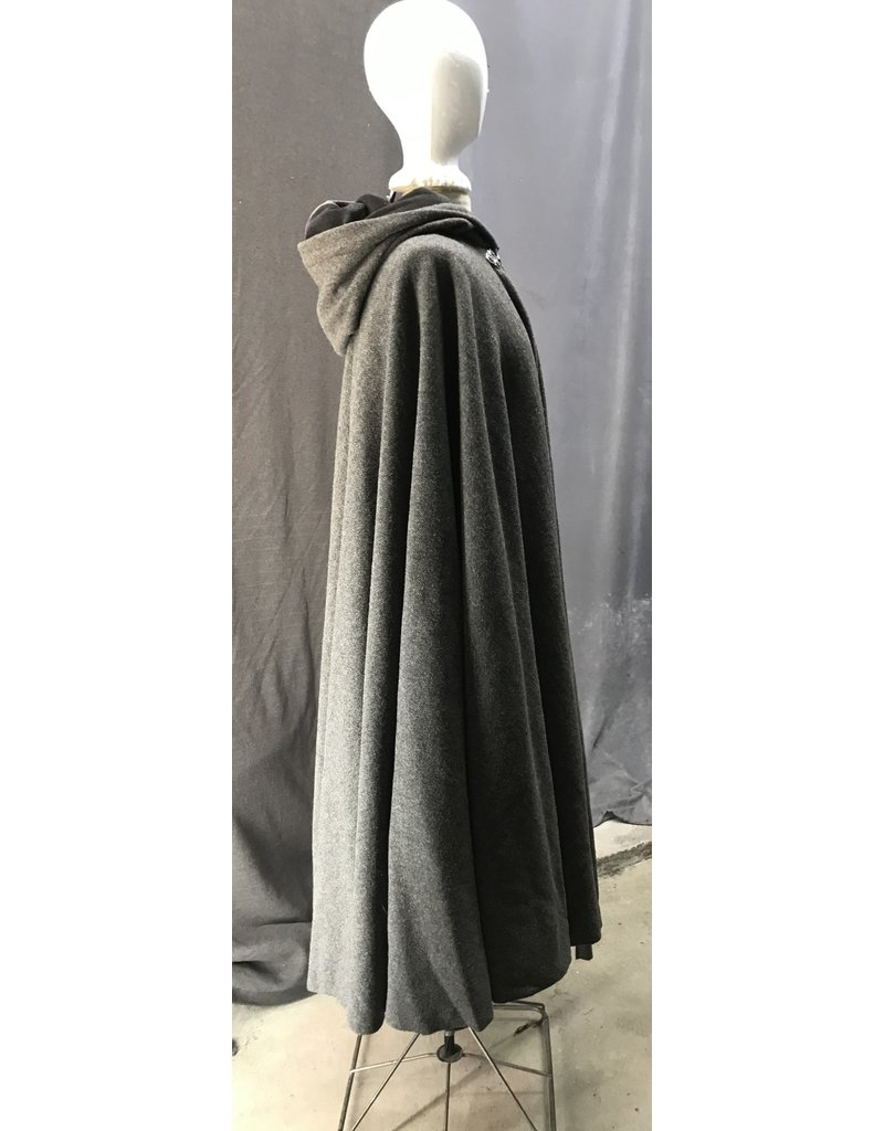 Cloak and Dagger Creations 4425 - Washable Variagated Brown Wool Twill Full Circle Cloak, Brown Velveteen Hood Lining, Pewter Clasp