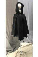 Cloak and Dagger Creations 4426 - Washable Black Wool Shaped Shoulder Cloak, Burgundy Red Hood Lining, Pewter Clasp