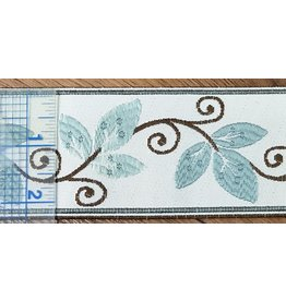 Cloak and Dagger Creations Vines and Curls Trim - Pale Blues and Brown on Ivory