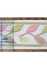 Cloak and Dagger Creations Linked Leaves Trim Narrow -Pinks and Greens on Cream