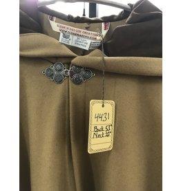 Cloak and Dagger Creations 4431 - Earth Yellow Woolen Full Circle Cloak, Brown Moleskin Hood Lining, Pewter Clasp