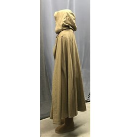 Cloak and Dagger Creations 4428 - Washable Caramel Brown Wool  Half Circle Ranger's Cloak, Unlined Hood,