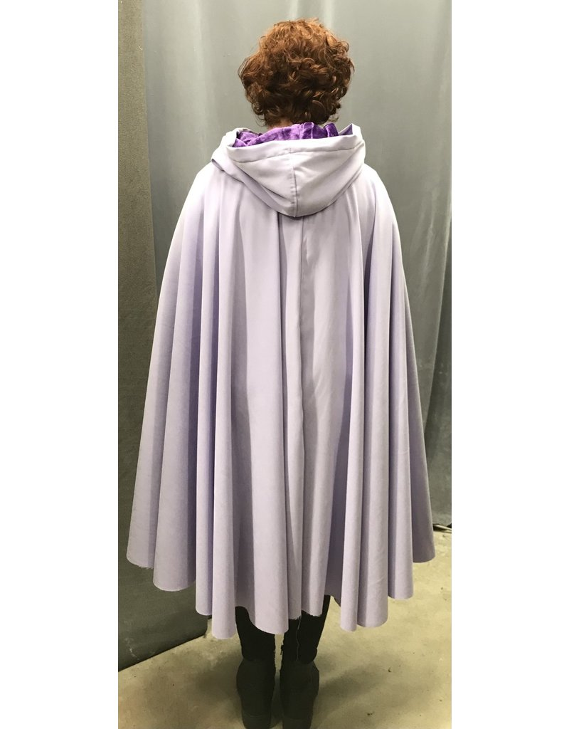 Cloak and Dagger Creations 4440 - Washable Lavender Full Circle Cloak, Purple Hood Lining, Pewter Clasp