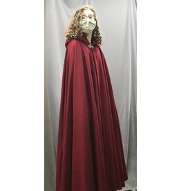 Cloak and Dagger Creations 4437 - Pomegranate Red 100% Wool Long Full Circle Cloak, Black Hood Lining, Pewter Clasp