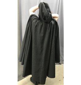 Cloak and Dagger Creations 4430 - Dark Grey Herringbone Full Circle Wool Cloak, Black Hood Lining, Pewter Clasp
