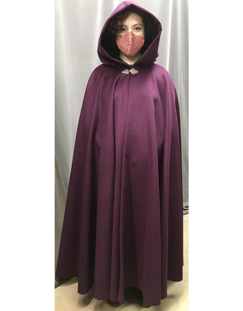 Cloak and Dagger Creations 4439 - Bishop's Purple Winter Woolen Long  Full Circle Cloak, Black Hood Lining, Pewter Clasp