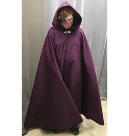 Cloak and Dagger Creations 4439 - Raspberry Winter Woolen Long  Full Circle Cloak, Black Hood Lining, Pewter Clasp