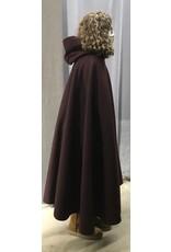 Cloak and Dagger Creations 4432 - Garnet Red Woolen Shaped Shoulder Cloak, Black Hood Lining, Pewter Clasp