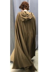 Cloak and Dagger Creations 4435 - Washable Brown Sugar Woolen Crepe Full Circle Cloak, Unlined Hood, Pewter Clasp