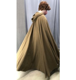 Cloak and Dagger Creations 4435 - Washable Light Brown Wool Crepe Full Circle Cloak, Unlined Hood, Pewter Clasp