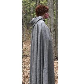 Cloak and Dagger Creations 4442 - Washable Brown/Grey Full Circle Cloak, Unlined Hood, Pewter Clasp