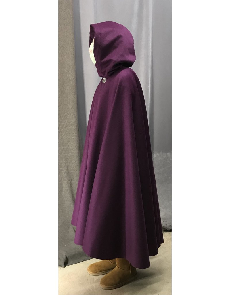 Cloak and Dagger Creations 4444- Bishop's Purple Winter Full Circle Cloak, Gray Hood Lining, Pewter Clasp