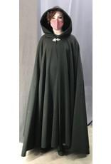 Cloak and Dagger Creations 4434 - Greenish Black Long Full Circle Cloak, Black Hood Lining, Pewter Clasp
