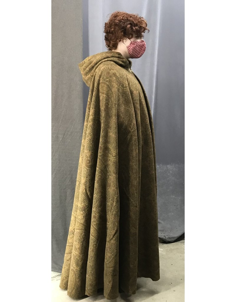 Cloak and Dagger Creations 4433 - Golden Paisley Printed Woolen Full Circle Cloak w/Pockets, Olive Green Hood Lining, Gold-tone Pewter Clasp