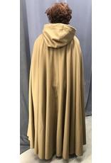 Cloak and Dagger Creations 4431 - Golden Tan  Woolen Full Circle Cloak, Brown Moleskin Hood Lining, Pewter Clasp
