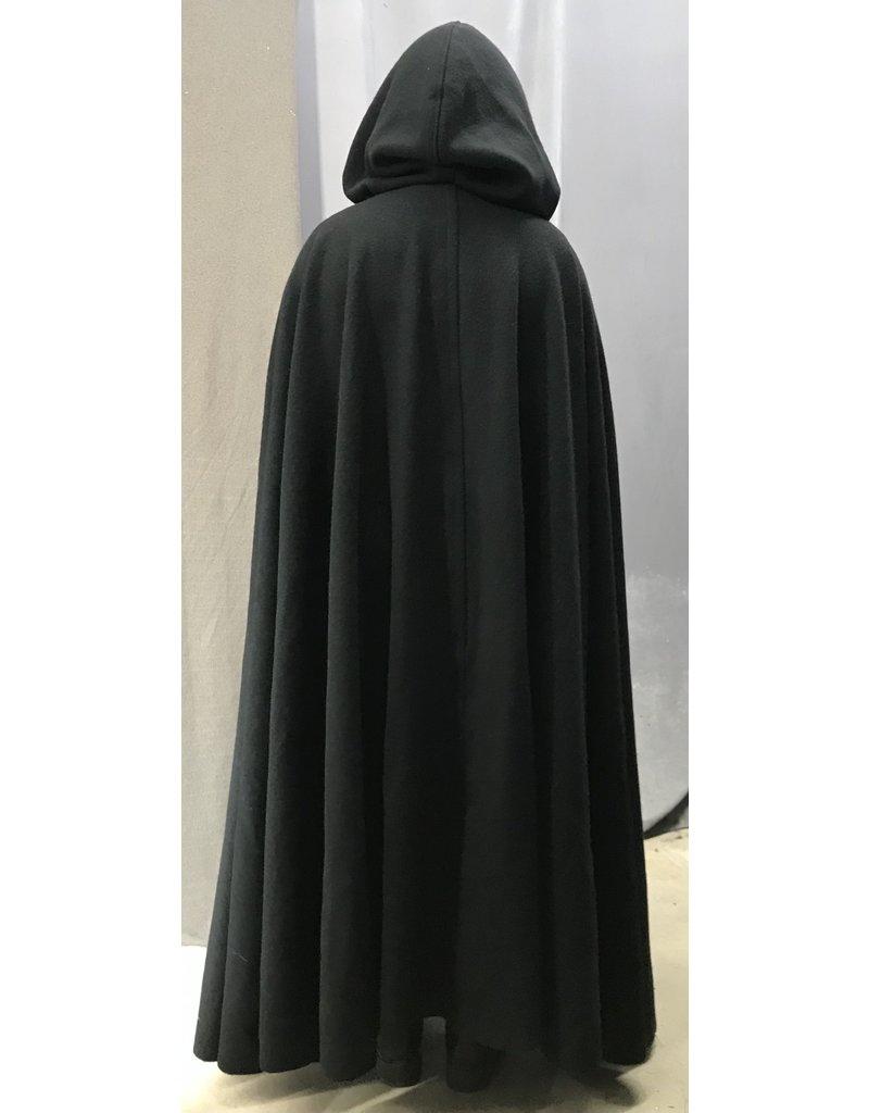 Cloak and Dagger Creations 4443 - Washable Black Woolen Long Full Circle Cloak, Dark Wine Hood