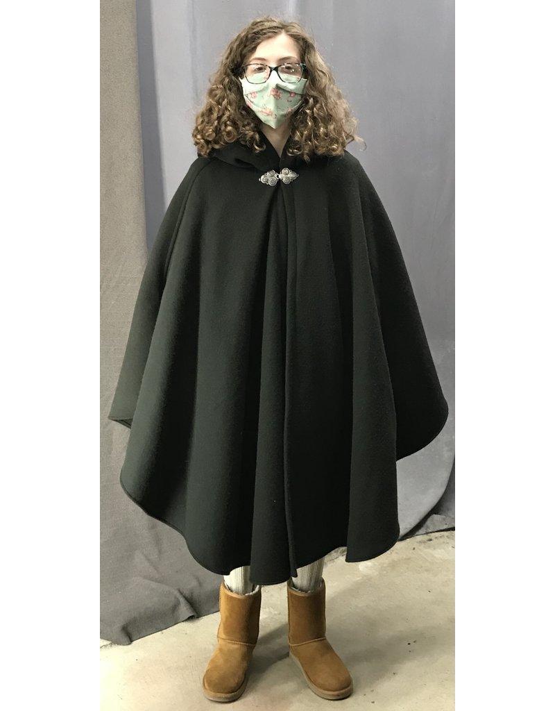 Cloak and Dagger Creations 4441 -  Greenish Black Shaped Shoulder Ruana-Style Cloak, Black Hood Lining, Pewter Clasp