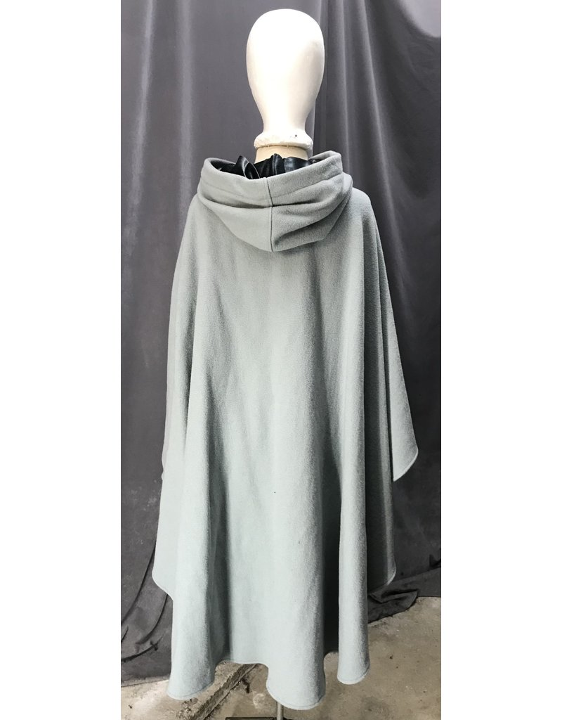 Cloak and Dagger Creations 4404 - Washable Pale Silver Grey Ruana-Style Cloak w/Pockets, Blue Grey Hood Lining, Pewter Clasp