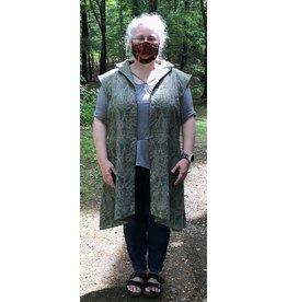 Cloak and Dagger Creations J713- Moss Green Paisley Long Vest w/ Pockets