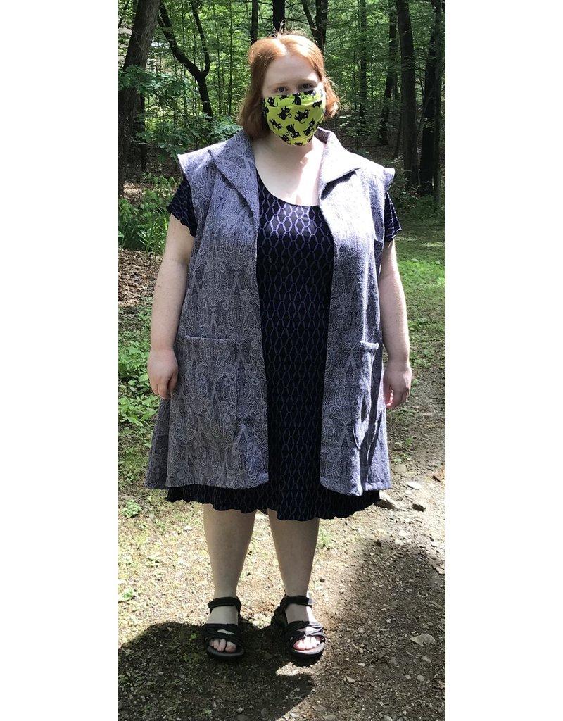 Cloak and Dagger Creations J712 - Lilac Purple Paisley Long Vest w/Pockets