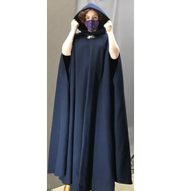 Cloak and Dagger Creations 4446 -Extra Long Navy Blue Washable Shaped Shoulder Cloak w/Armslits, Black Hood Lining, Pewter Clasp