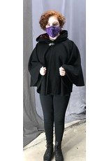 Cloak and Dagger Creations 4450 - Black Short Woolen Cloak, Red Hood Lining, Pewter Clasp