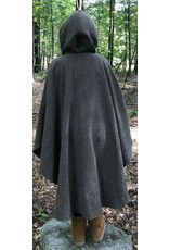 Cloak and Dagger Creations 4458 - Variagated Brown Shaped Shoulder Ruana-Style Cloak, Brown Hood Lining, Pewter Clasp