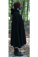 Cloak and Dagger Creations 4457 -  Black Wool/Cashmere Shaped Shoulder Cloak, Red Hood Lining, Pewter Clasp