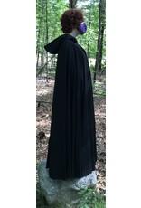 Cloak and Dagger Creations 4456 - Washable Black Wool Long Cloak, Black Moleskin Hood Lining, Pewter Vale Clasp