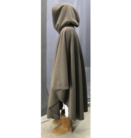 Cloak and Dagger Creations 4454 - Washable Soft Brown Fleece Ruana-Style Cloak, Pewter Vale Clasp