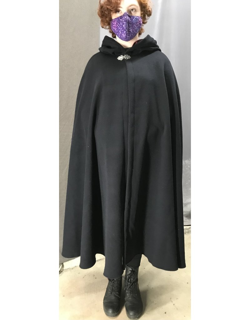 Cloak and Dagger Creations 4453 - Deep Blue Wool/Cashmere  Shaped Shoulder Cloak, Burgandy Hood Lining, Pewter Vale-type Clasp