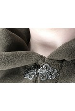 Cloak and Dagger Creations 4452 - Washable Brown Fleece Ruana-Style Cloak, Unlined Hood, Pewter Vale Clasp
