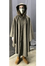 Cloak and Dagger Creations 4451 - Variagated Brown Woolen Ruana-style Cloak, Deep Grey Hood Lining, Pewter Vale-type Clasp