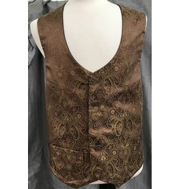 Cloak and Dagger Creations J714 - Copper Brocade Single Pocket Vest w/Brown Satin Interior, Coppery Open Buttons