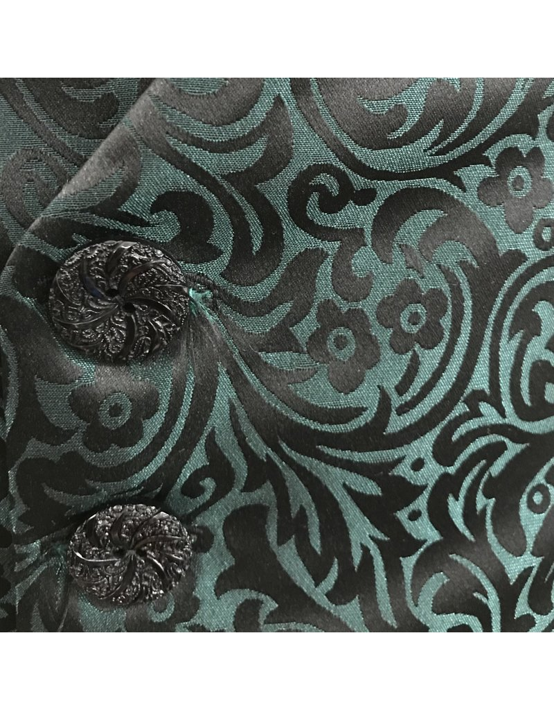 Cloak and Dagger Creations J715 - Green/Black Brocade Vest w/2 Pockets, Faceted Buttons