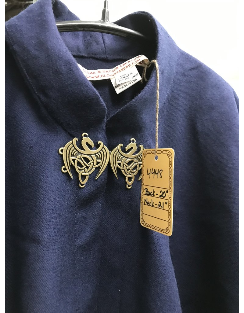 Cloak and Dagger Creations 4448 - Washable Navy Blue  Wool Twill Short Cloak, Collared, Celtic Dragon Clasp