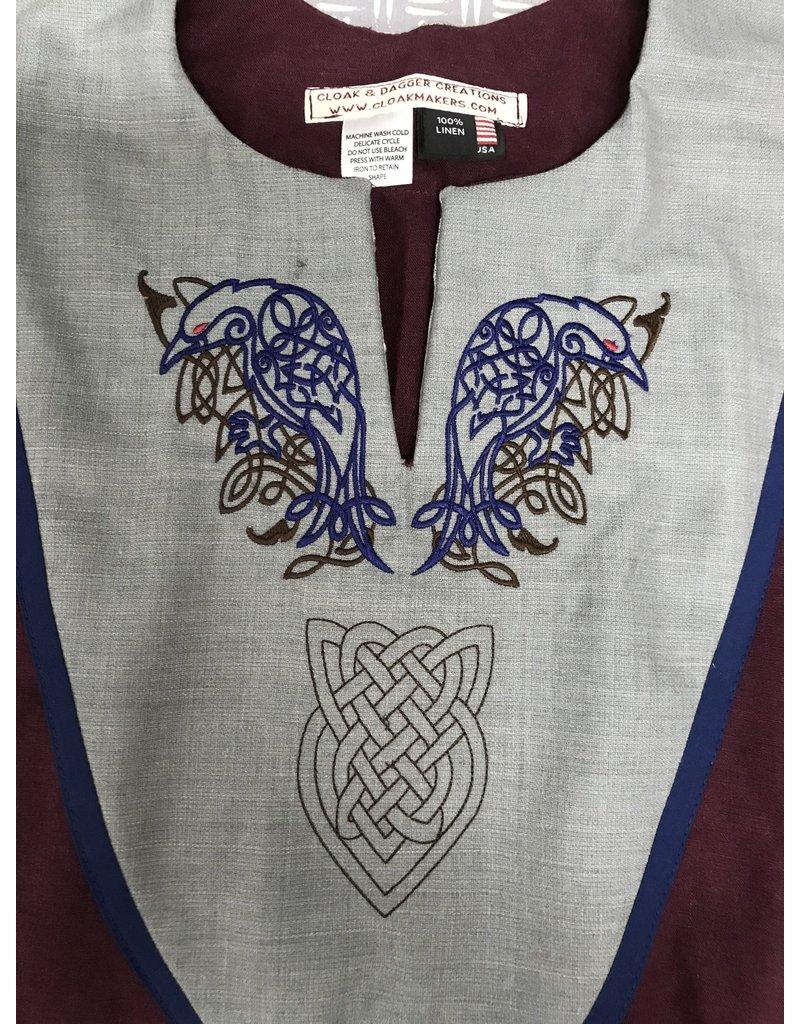 Cloak and Dagger Creations J717 - Burgundy Linen Short Sleeve Tunic w/Ravens & Shield Embroidery