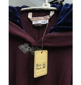 Cloak and Dagger Creations 4468- Burgandy Woolen Full Circle Cloak, Blue Velvet Hood Lining, Pewter Triple Medallion Clasp
