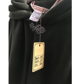 Cloak and Dagger Creations 4466 - Washable Hunter Green Fleece Ruana-Style Cloak, Unlined Hood, Pewter Vale-type Clasp
