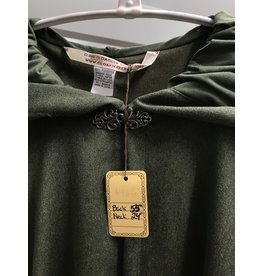 Cloak and Dagger Creations 4467 - Washable Golden Green Moleskin Full Circle Cloak, Green Moleskin Hood Lining, Pewter Vale Clasp