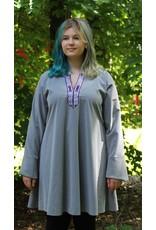 Cloak and Dagger Creations J598 - Dove Grey Rayon Viking Tunic, Purple/Silver Mongolian Celtic Knot Trim- Medium