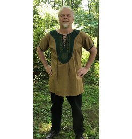 Cloak and Dagger Creations J611 -  Orche Brown Tunic w/Trimmed Sleeves , Knot Embroidered Green Yoke, Grommeted for Lacing